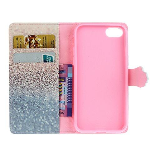 iPhone 7 Custodia in Pelle,iPhone 7 Cover Portafoglio,Etsue Colorate Dipinto Modello Style Flip Wallet Cover Case Con Magnetica Chiusura/Card Slot/Supporto Funzione,Libro Leather Pu Protettiva Case Co &9