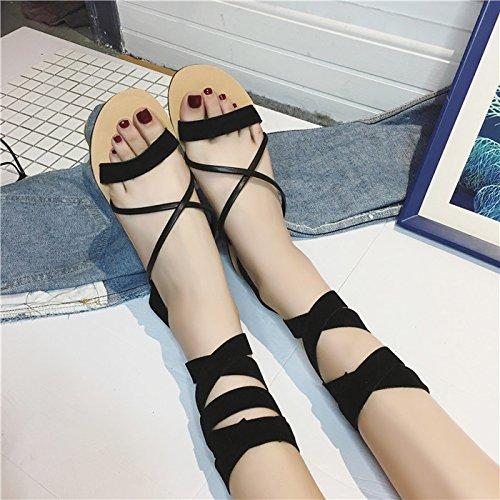 Estate donna dita dei piedi scarpe piatte sul fondo sandali nero ,41 Black