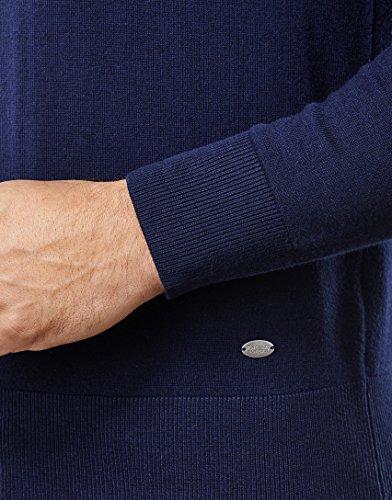 Vincenzo Boretti Herren-Pullover Rundhals-Kragen slim-fit tailliert Strick-Pullover einfarbig Baumwolle-Mix edel elegant leicht Fein-Strick für Business oder Casual Dunkelblau