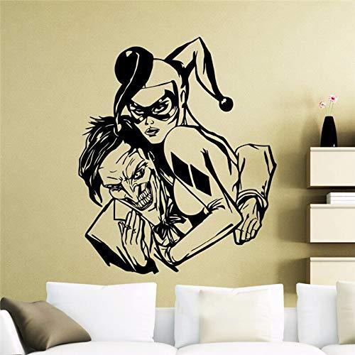 Harley Quinn und Joker Vinyl Aufkleber DC Marvel Comics Wandtattoo Home Interior Decor Teen Zimmer Cool Art Mura 57x72cm
