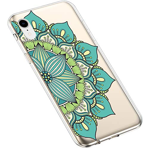 Uposao Kompatibel mit iPhone XR Handyhülle Transparent mit Muster Motiv TPU Silikon Schutzhülle Case Crystal Clear Handytasche Dünn Stoßfest Bumper Backcover,Grün Mandala Blume