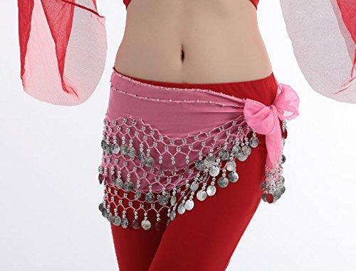 Dance Accessories Lndian Dance Tribal Danse du ventre costume Hip écharpe 3 Rangées 128 Coins Lengthened Light Pink