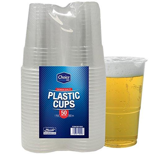 50 Stück Plastikbecher Kunststoffbecher pintbecher transparent 660ml praktischer Einwegbecher Trinkbecher, für bier Feste und Partys (Weihnachten Papier Geschirr)