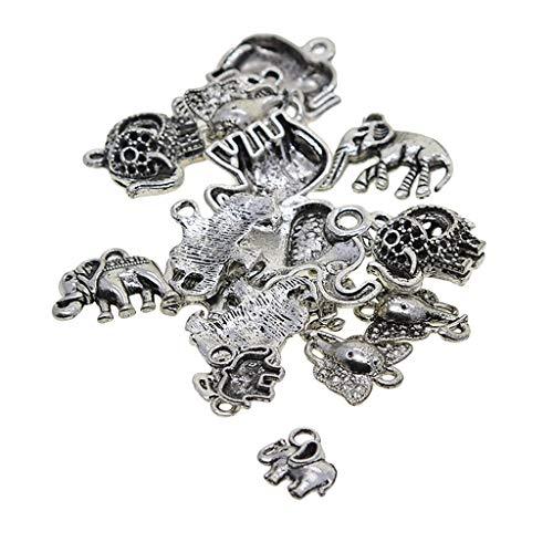 B Baosity 20 Piezas Forma de Plata Antigua Encantos de Elefantes Colgante...