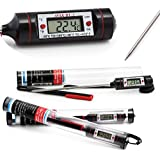 AVAX DT-1 - Digital LCD Food Thermometer Kitchen Cooking Probe for Meat, Steak, Turkey, BBQ, Yerba Mate, Home Brewing & Wine Making, etc. - Temperature range: -50C to 300C / -58F to 572F - 13cm long Stainless Steel Probe - Protective Cap and 1 x LR44 Battery INCLUDED (BLACK)