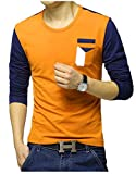 EYEBOGLER Regular Fit Men's Cotton T-Shirt (S-T24-ORNB, Orange-Navy Blue, Small)