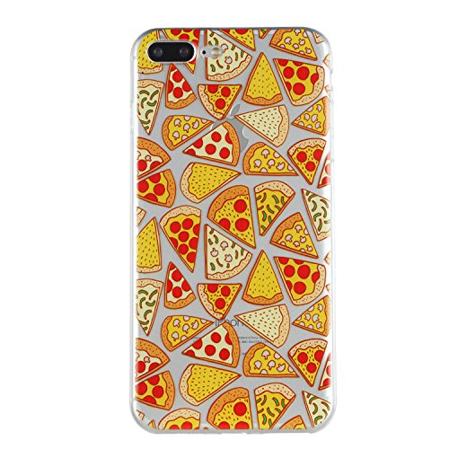 iPhone 7 Plus Custodia, iPhone 7 Plus Cover in Silicone TPU Transparente, JAWSEU Creativo Disegno Super Sottile Cristallo Chiaro Custodia per Apple iPhone 7 Plus Corpeture Case Antiurto Anti-scratch S Pizza