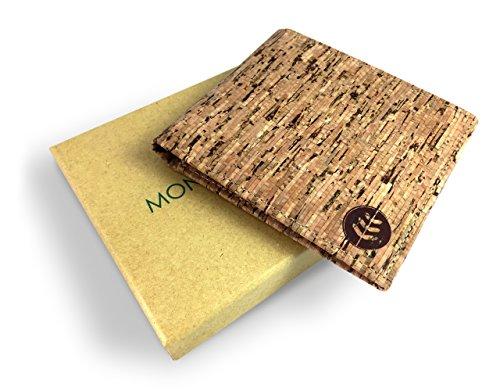Billetera Natural Con Bloqueo RFID - Diseño Clásico y Vintage para Hombre - De Corcho Natural - Divisor de Tarjetas Vegano Para Dinero, Tarjetas y Carnés - Un Regalo Ecológico Ideal