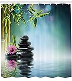 Abakuhaus Zen Garten Duschvorhang, Blumen-Spa-Steine, Waschbar und Pflegeleicht mit 12 Haken Hochwertiger Druck Farbfest Langhaltig, 175 x 200 cm, Multicolor