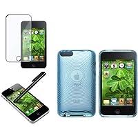 Claro Azul GEL Dura TPU Funda+Lapiz+Protector Para iPod Touch 2nd 3rd 2G 3G