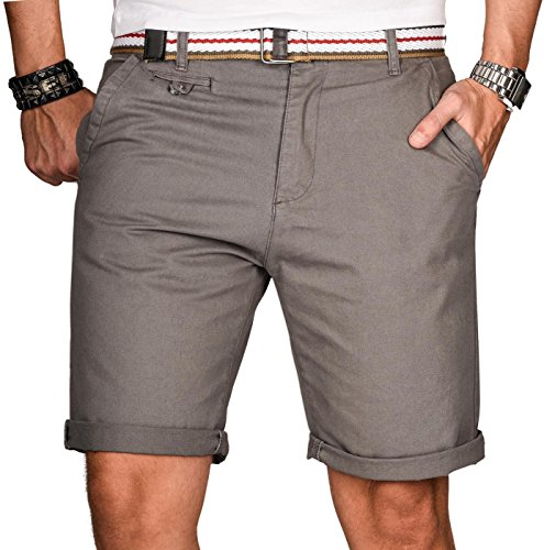 A. Salvarini Herren Bermuda Shorts Kurze Sommer Hose inkl. Gürtel AS-096 [AS-096-Grau-W34] (Für Polo Männer Kurze Hosen)