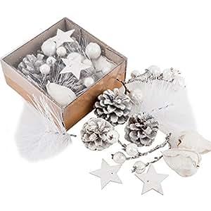 Dadeldo Living & Lifestyle Bastel Set Xmas Natur 11er Deko 5-6-9cm weiss glitter Weihnachten