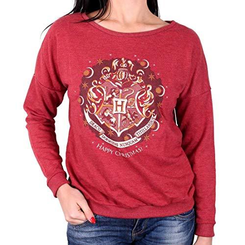 Harry Potter Damen Premium Vintage Sweater Pullover - Hogwarts Logo (Weinrot) (S-L) (L)