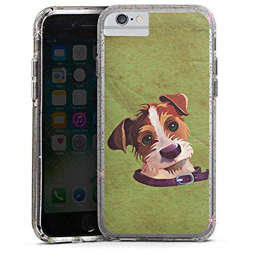 Apple iPhone 7 Plus Bumper Hülle Bumper Case Glitzer Hülle Jack Russell Hund Chien Bumper Case Glitzer rose gold