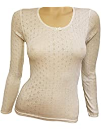 Thermal New Women Ladies Long Sleeve Ivory Color Winter Warm Top Underwear