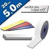Magnetband Magnetstreifen farbig beschreibbar abwischbar - Breite 20mm - 5m Rolle - Kennzeichnungsband - Ideal zum Beschriften (mit Non-Permanent-Markern) oder farblichen Markierung von Lagerregalen Farbe:weiss
