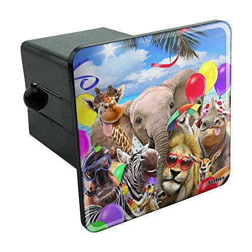 (Graphics and More Afrika Animal Beach Party Selfie Löwe Giraffe Zebra Gnu Rhino Tow Anhängevorrichtung Cover Plug Einsatz 5,1cm)