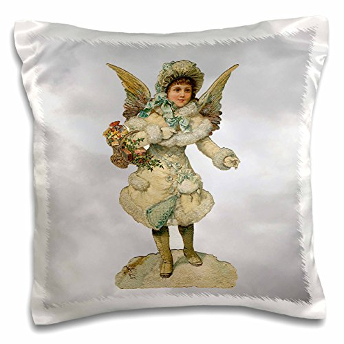 Sandy Mertens Vintage Christmas Designs - Image Girl Angel Wearing a Winter Coat with Modern Clouds Background - 16x16 inch Pillow Case (pc_172708_1)