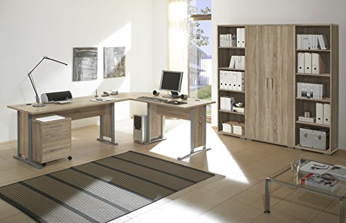 """Büromöbel Set """"OFFICE LINE"""" Eckschreibtisch Rollcontainer Regalwand Büroeinrichtung / Eiche Sonoma"""