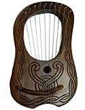 Lyre Harp Sheesham Wood 10 Metal Strings Hand Engraved Free Case and Key/HARP
