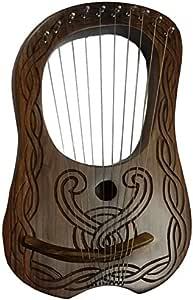 Lyre harpe en bois de sheesham 10cordes en métal à la main gravé gratuit étui et clé/harpe