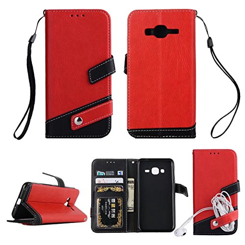 Litchi Texture Dual Farbe Stitching Pattern Synthetik Leder Tasche Cover Flip Stand Case mit Lanyard & Card Slots für Samsung Galaxy J3 2016 ( Color : Red ) Red