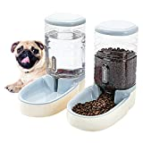 HappyCat Automatic Pet Feeder Small&Medium Pets Automatic Food Feeder and Waterer Set 3.8L, Travel Supply Feeder and Water Dispenser for Dogs Cats Pets Animals (glay)