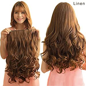 """Reecho 20"""" 1 Pack 3/4 Full Head Curly Wave Clips In On Synthetic Hair Extensions Hairpieces For Women 5 Clips 4.6 Oz Per Piece Dark Brown"""