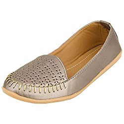 Footrendz Womenss Ethnic Cutwork Faux Leather Loafers (37 EU)