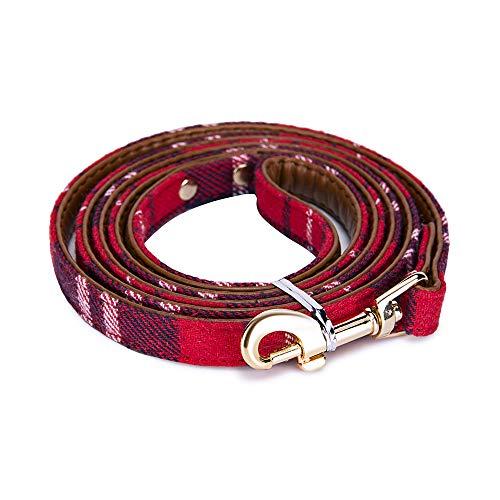 StrawberryEC Hundehalsband für Kleine Hunde, verstellbar, mit ID-Schnalle, Leder Hundehalsband, kariert, Rot, Small, Leash-Red Plaid -