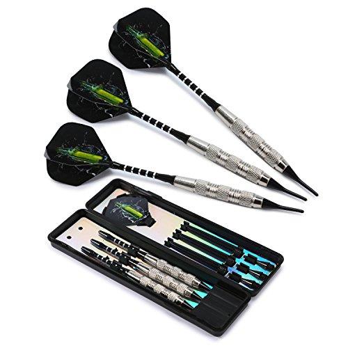 Babimax Darts Dartpfeile Softdarts 18g professionell mit Stahlspitzen (Grün)