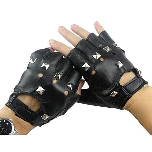 Herren Für Kostüm Sport - Homedecoam Herren Punk Rock Fingerlose Gothic PU Leder Handschuhe mit Nieten für Cosplay Kostüm Fahrrad Sports