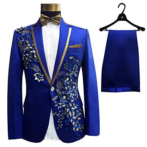 TPSAADE Blau Pailletten Mens Hochzeit Anzüge Jacke Mode schlank bestickt formale Partei prom schwarze Männer Anzug Blazer (XXL, (2017 Homme Kostüm Mode)
