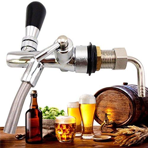 KING DO WAY Wein Bier Wasserhahn Zapfhahn, drehzapfhahn Chrom Messing, Bierhahn Fasshahn Schankhahn, Kolbenhahn fuer Zapfanlage Bier Hahn