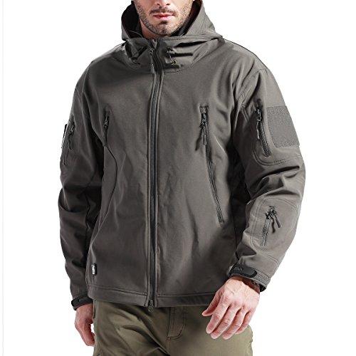 FREE SOLDIER Männer Wasser Abwehrmittel Kapuzenjacke Winddicht Wandern Ski Mountain Softshell Jacke (Grau XXXXL)