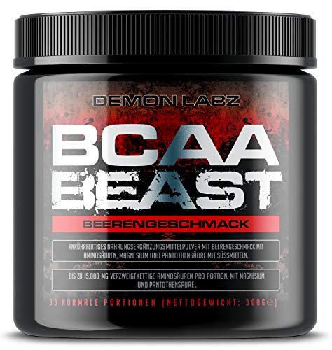 BCAA Beast (Beerengeschmack) - BCAA Pulver 10:1:1-15.000mg BCAA pro Portion - Essentielle Aminosäuren Leucin, Isoleucin und Valin (300g)