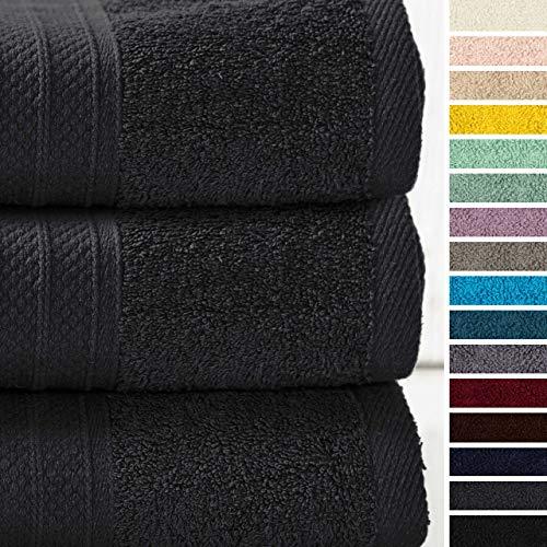 Lumaland Premium 3er Set Badetücher Handtücher Frottee 3 Badetücher Duschtücher 70 x 140 cm aus 100% Baumwolle 500 g/m² mit Aufhänger anthrazit
