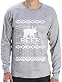 Green Turtle T-Shirts Bear + Deer = Beer - Witziger Weihnachtspulli Langarm T-Shirt Large Grau