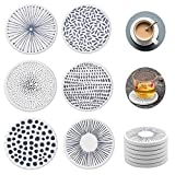 Nice Dream Saugfähige Untersetzer für Gläser, Keramik Untersetzer mit Korkrücken, für Tassen Tisch Bar Glas, 6 Stück (Mehrfarbig)