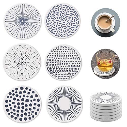 Nice Dream Saugfähige Untersetzer für Gläser, Keramik Untersetzer mit Korkrücken, für Tassen Tisch Bar Glas, 6 Stück (6 Stück) -