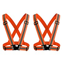 KKmoon Reflective Vest with High Visibility Bands Tape Multi-Purpose Adjustable Elastic Safety Belt for Night Running Cycling Motorcycle Dog Walking