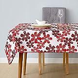 Deconovo Tischdecke Wasserabweisend Lotuseffekt Tischwäsche 140x200 cm Blume Rot