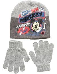 Disney Mickey, Conjunto 2 Pcs Gorro + Guantes, Unisex Niños