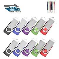 EASTBULL USB 2.0 Flash Drives Memory Stick Fold Storage 10 Pcs (With Lanyard)…