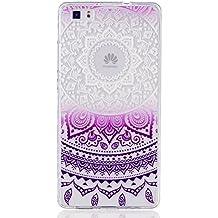 MUTOUREN teléfono caso cubrir volver piel protectora Shell Carcasas Funda para Huawei P8 Lite - Henna Series Full Mandala Floral Dream Catcher -Deep Purple