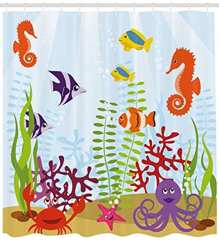 GAOFENFFR Aquarium Duschvorhang Freundliche Meerestiere Tropischen Aquatic Habitat Sammlung Seepferdchen Krabben Octopus Stoff Badezimmer Dekor Set mitMulticolor (Kunststoff-octopus Schimmel)
