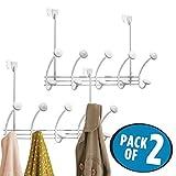 mDesign 2er-Set Hakenleiste – 10 Garderobenhaken für die Tür in Flur und Bad – hochwertige Garderobe für Mäntel, Jacken, Bademäntel, Handtücher – aus robustem Metall – weiß