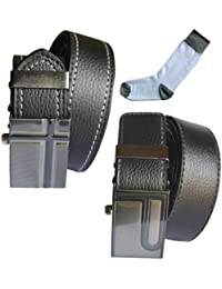 Sunshopping men's black synthetic leather auto lock buckle belts combo with white socks (r-201)