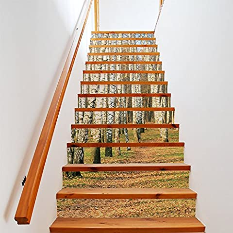 Buluke Creative DIY 3D Birch Forest Pattern Staircase Stairway Autocollants