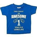 This Is What an Awesome 1 Jahr Old Looks Like Blau T-Shirt 1. Geburtstag Baby Kleinkind Kinder Verfügbar in den Größen 0-6 Monate bis 14-15 Jahre Neu Baby Schwester Geschenk - Blau, 12-18 Months